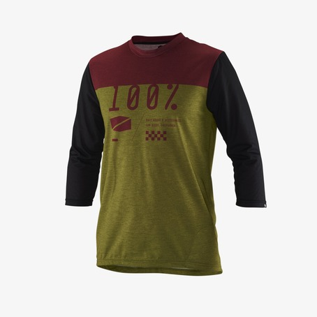 100% AIRMATIC 3/4 SLEEVE JERSEY - OLIVE