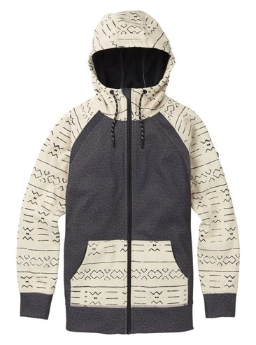 Burton WM Crown Bonded Full Zip Hoodie - Canvas Bogolafini/True Black Heather