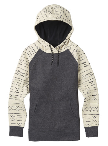 Burton Womens Crown Hood Pull Over - Canvas Bogolanfini / True Black Heather