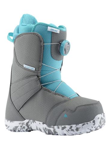 Burton Zipline Boa Kids Snowboard Boots - Grey/Blue