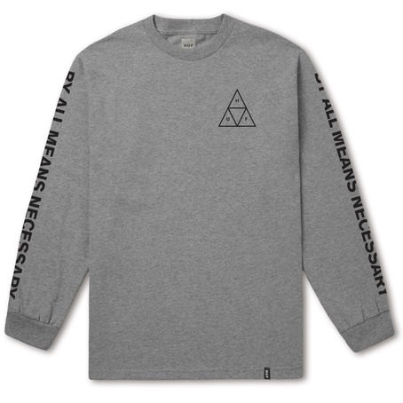 HUF TRIPLE TRIANGLE LONG SLEEVE - GRAY HEATHER