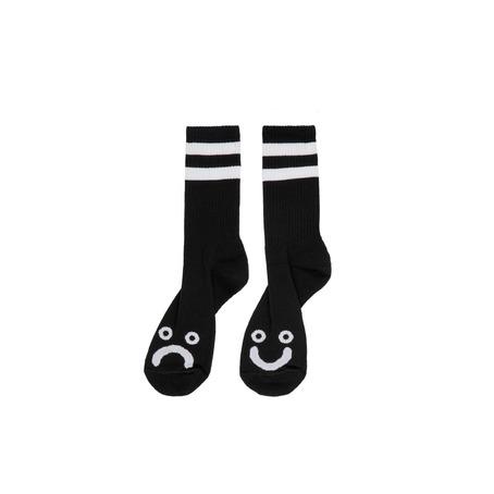 POLAR SKATE CO HAPPY/SAD SOCKS - BLACK