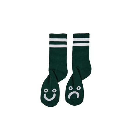 POLAR SKATE CO HAPPY/SAD SOCKS - DARK GREEN