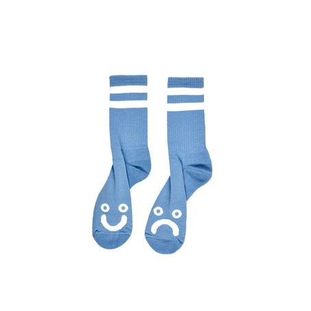POLAR SKATE CO HAPPY/SAD SOCKS - LIGHT BLUE