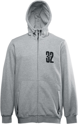 Thirty Two Stamped Zip Hood - Heather Grey