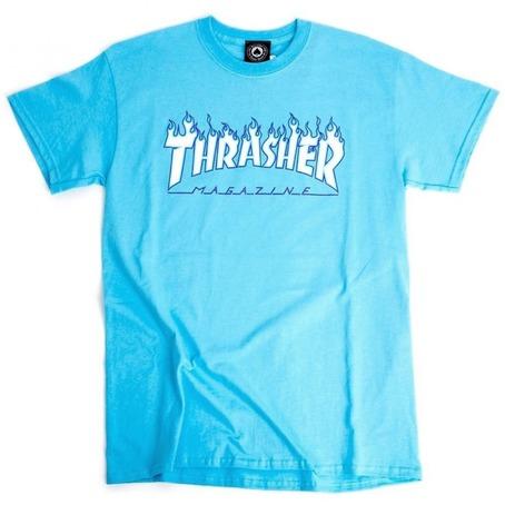 Thrasher Flame Logo T-Shirt - Sky Blue