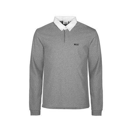 WESC Kelby Long Sleeve Polo Shirt - Heather Grey