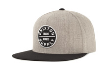 View the Brixton Oath Snapback Cap - Heather Grey from the Snapbacks, 6 Panel Caps clothing range online today from Boarderline