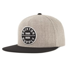 View the Brixton Oath Snapback Cap - Heather Grey/Black from the Snapbacks, 6 Panel Caps clothing range online today from Boarderline