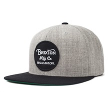View the Brixton Wheeler Snapback Cap - Light Heather Grey/Black from the Snapbacks, 6 Panel Caps clothing range online today from Boarderline