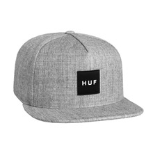 View the Huf Box Logo Snapback Cap - Grey Heather from the Snapbacks, 5 Panel Caps clothing range online today from Boarderline