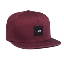 View the Huf Box Logo Snapback Cap - Wine from the Snapbacks, 6 Panel Caps clothing range online today from Boarderline