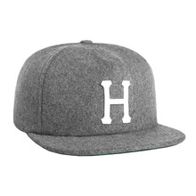 View the Huf Classic H Wool Strapback Cap - Heather Grey from the Snapbacks, 6 Panel Caps clothing range online today from Boarderline