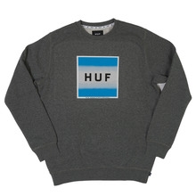 View the Huf Poster Box Logo Crew Sweat - Heather Grey from the Hoods and Crews clothing range online today from Boarderline