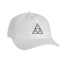 View the Huf Triple Triangle Curve Dad Hat - White from the Snapbacks, 6 Panel Caps clothing range online today from Boarderline