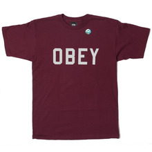 Obey Collegiate 3M Reflective T-Shirt - Burgundy