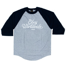 Obey Homebrew Raglan Top - Grey/Navy