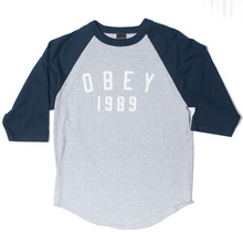 Obey Phys-Ed Baseball Raglan - Grey/Navy
