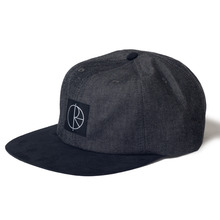 Polar Skate Co Stroke Logo 6 Panel Cap - Black Denim/Black Suede Brim