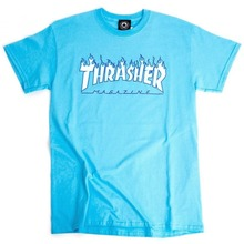 View the Thrasher Flame Logo T-Shirt - Sky Blue from the T-Shirts clothing range online today from Boarderline