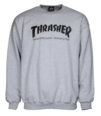 View the Thrasher Mag Logo Crew - Heather Grey from the Hoods and Crews clothing range online today from Boarderline